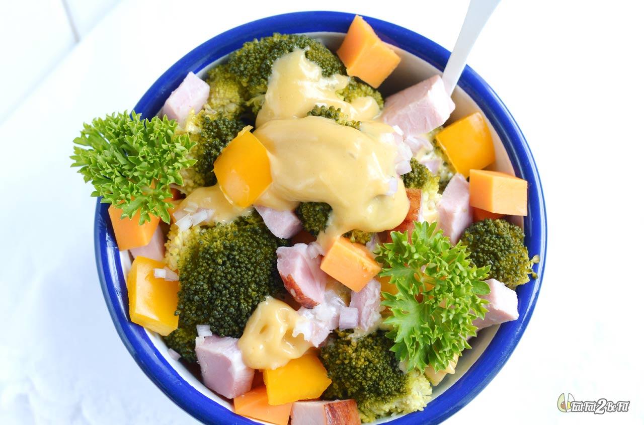 recette cétogène salade froide brocoli jambon mimolette mayonnaise