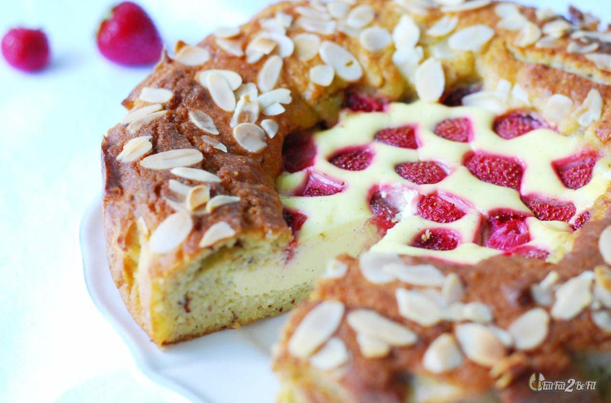 recette cétogène gâteau amandier façon cheesecake fraise