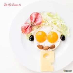 #01 œuf - chou chinois - olive noire - salami - amande - emmental