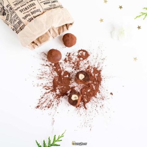 Truffes LCHF au chocolat, orange et coeur noisette (sans lactose)