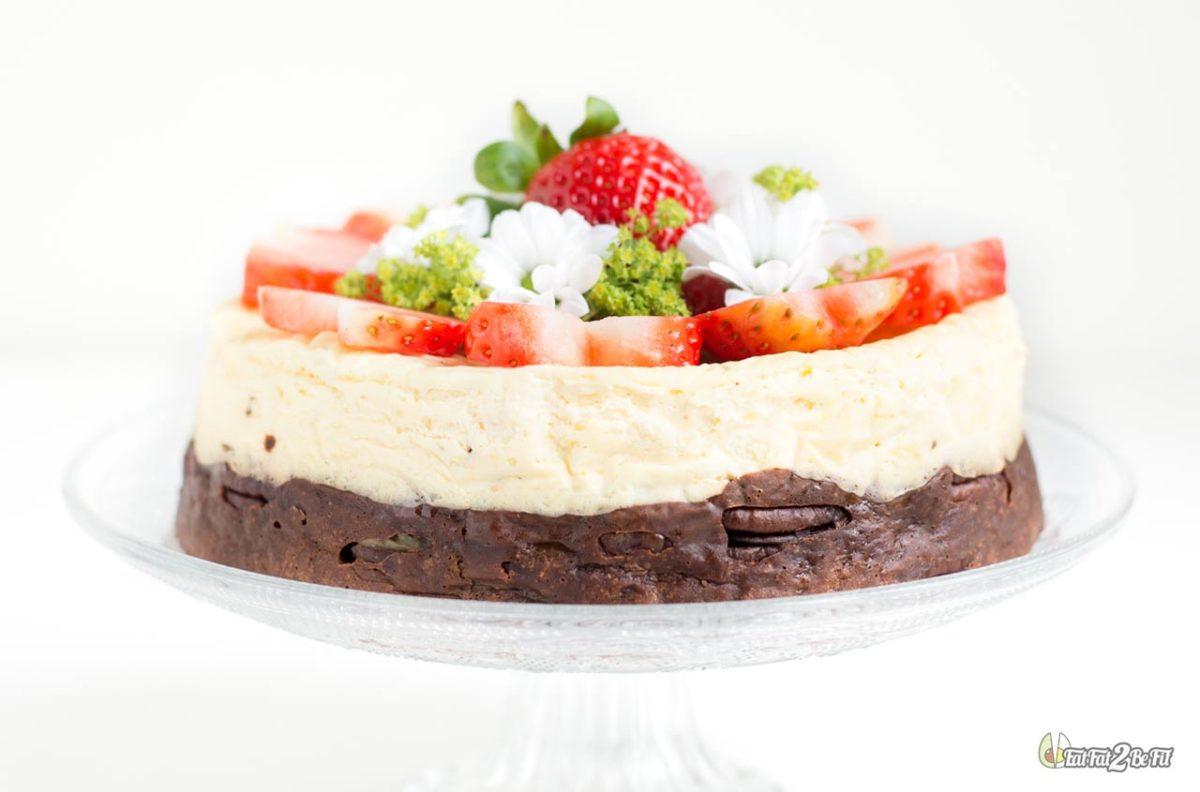 recette cétogène dessert gâteau chocolat brownie cheesecake fraise