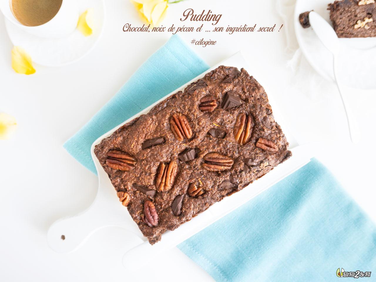 Découvrez notre recette cétogène de pudding au chocolat, noix de pécan et courgette