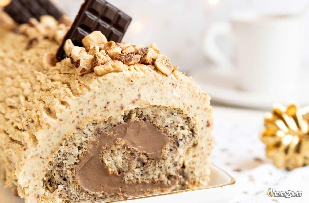 recette cétogène dessert fêtes bûche de noël praline chocolat sans sucre